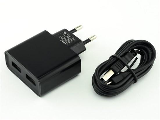 Зарядное устройство 220V -> USB 5V SmartBuy SBP-6050, 2xUSB, 3000mA, черный + кабель microUSB - фото 8242
