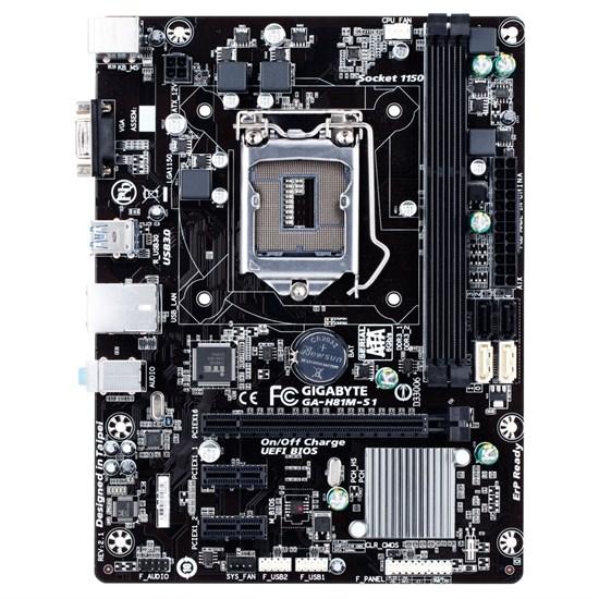 Socket 1150 Gigabyte GA-H81M-S1 rev. 2.1 (iH81, 2xDDR3, SATA 6Gb/s, D-SUB, 2xUSB 3.0, GLAN, mATX) - фото 8303
