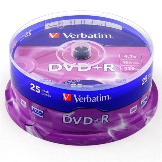 DVD+R 4.7GB Verbatim 16x (упаковка 25шт. на шпинделе) (43500) - фото 8349
