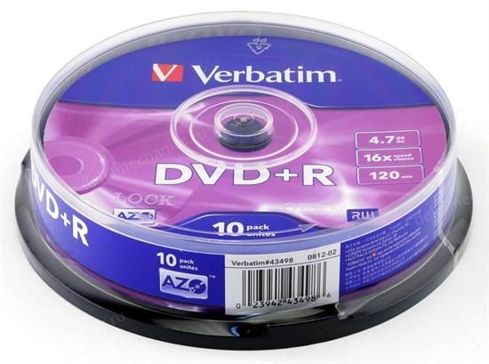 DVD+R 4.7GB Verbatim 16x (упаковка 10шт. на шпинделе) (43498) - фото 8350