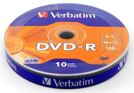 DVD-R 4.7GB Verbatim 16x (упаковка 10шт. в пленке) (43729) - фото 8453