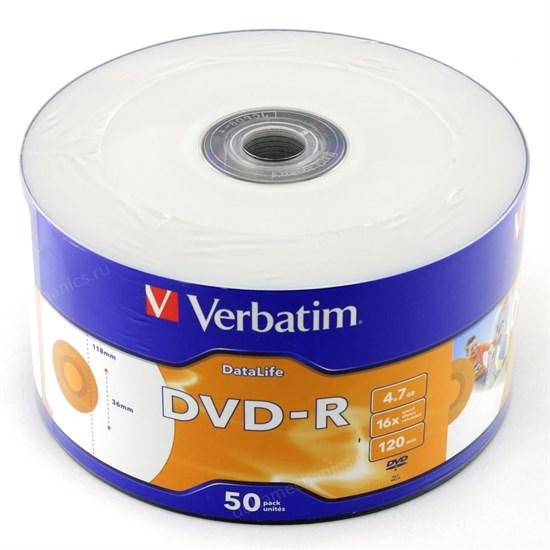DVD-R 4.7GB Verbatim 16x, DataLife, printable (упаковка 50шт. в пленке) (43793) - фото 8455