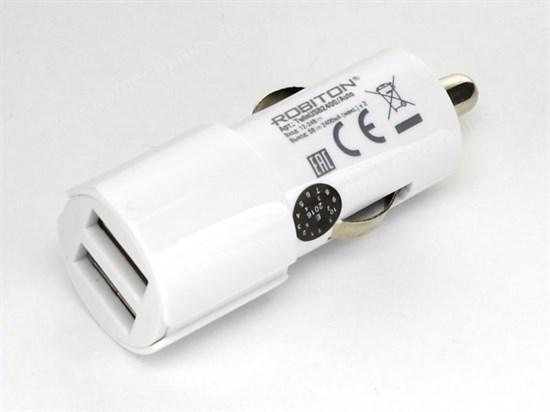 Зарядное устройство а/м 12V -> USB 5V Robiton TwinUSB2400/AUTO 2x2400mA, белый - фото 8460