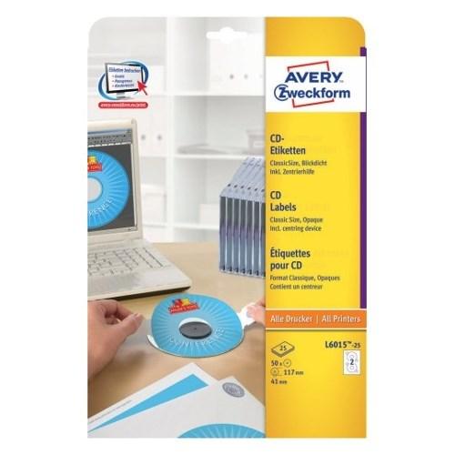 Наклейки для CD/DVD Avery Zweckform, матовые, с центр. устройством (шайба), 50шт - фото 8548
