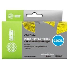 К-ж HP CD974AE 920XL Officejet желтый, 6мл, Cactus