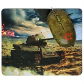 Мышь + коврик CBR Tank Battle, 1200 dpi, рисунок, USB