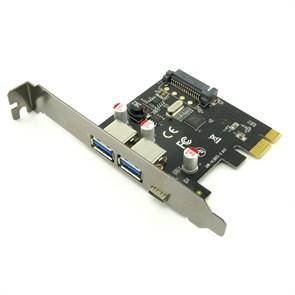 PCI-e -> USB 3.0 2port ext. + USB 3.1 Type-C (F)  VIA chipset