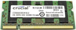 SO-DIMM DDR2 2GB PC2-6400 DDR2-800 Crucial (CT25664AC800)
