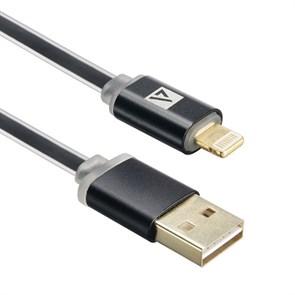Кабель USB A --> Lightning 8pin (m) 1.0м для Apple ACD-Smart, TPE, 2-ст. конн., инд. заряда, черный (ACD-U915-P6B)