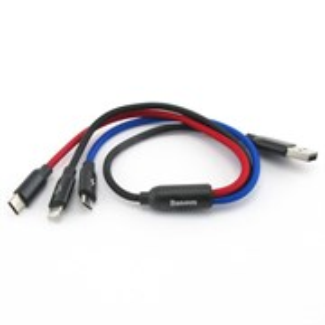 Кабель для зарядки USB A(m) -> micro-USB, 8pin Lightning, Type-C Baseus, 0.3м, цветной, нейлон