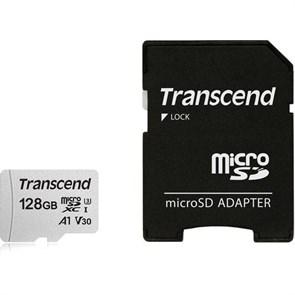 microSD Memory Card SDXC 128GB Class10 UHS-I U3 V30 A1 Transcend 95/45 MB/s (TS128GUSD300S-A)