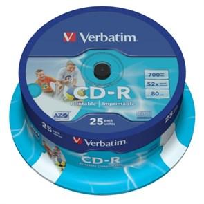 CD-R 700Mb 80min Verbatim 52x Printable (упаковка 25шт. на шпинделе) (43439)