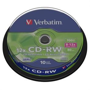 CD-RW 700Mb 80min Verbatim 12x (упаковка 10шт. на шпинделе) (43480)