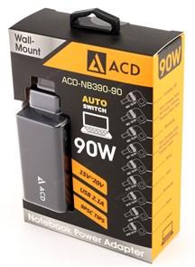 Адаптер питания для ноутбука ACD AСD-NB390-90 черный (220В --> 15-20В, 90W, 9раз., USB 2.1A)