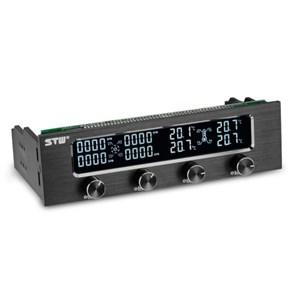 """Панель упр. STW-6041 5.25"""" (регулировка вентиляторов 4 канала, 0-12V, LCD, датчики темп-ры)"""