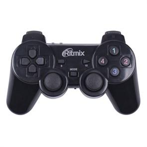 Геймпад RITMIX GP-020WPS Black (беспроводной, виброотдача, 17кн., 3xAAA, PC/PS3)