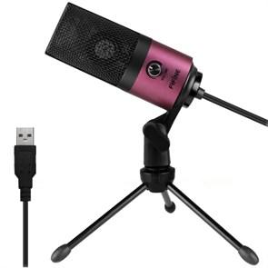 Микрофон FIFINE K669 (розовый, на штативе, USB 5V, 20Hz-20kHz, -34dB±30% (1kHz), S/N 78dB, шнур 1.8 м, рег. громкости)