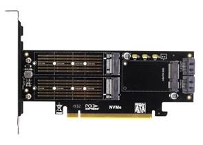 Адаптер в слот PCIe x16 (M.2 2280 PCIe SSD -> PCIe x4 / M.2 2280 SATA SSD -> SATA / mSATA SSD -> SATA)