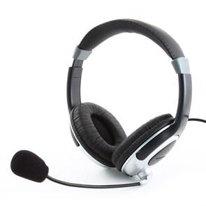 Gembird MHS-290, черная (оголовье, закрытая, 20Гц-20кГц, 32Ом, 2 * 3,5 мм, кабель 1,8м)