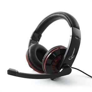 Gembird MHS-783, черная (оголовье, закрытая, 20Гц-20кГц, 32Ом, 2 * 3,5 мм, кабель 1,8м)