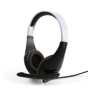 Gembird MHS-901, черно-белая (оголовье, закрытая, 20Гц-20кГц, 32Ом, 2 * 3,5 мм, кабель 1,8м)