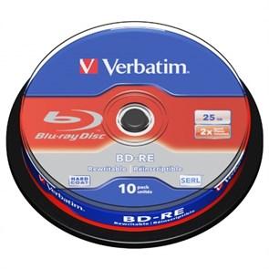 BD-RE 25GB Verbatim 2x, (упаковка 10шт., на шпинделе) (43694)