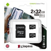 microSD Memory Card SDHC 32GB Two Pack (2x32GB) Class10 UHS-I U1 Kingston Canvas Select Plus 100MB/s (SDCS2/32GB-2P1A)