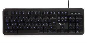 Клавиатура Gembird KB-200L, синяя подсветка, регулировка яркости, 104кл., USB, 1.45м