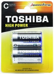 C (LR14) Toshiba, 1.5V, alkaline, упаковка 2шт.