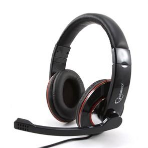 Gembird MHS-780B, чёрная (оголовье, закрытая, 20Гц-20кГц, 32Ом, 2 * 3,5 мм, кабель 1,8м)