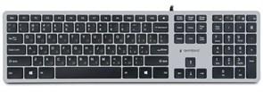 Клавиатура Gembird KB-8420, серебристая, 109кл., с ножничным механизмом, USB, кабель 1.5 м