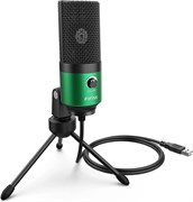 Микрофон FIFINE K669 (зелёный, на штативе, USB 5V, 20Hz-20kHz, -34dB±30% (1kHz), S/N 78dB, шнур 1.8 м, рег. громкости)