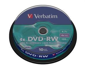 DVD-RW 4.7GB Verbatim 4x (упаковка 10шт. на шпинделе) (43552)