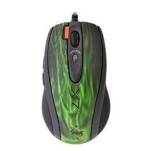 Мышь A4Tech XL-750BK <Green Fire> Laser Game, 2500dpi 6-Full Speed, USB