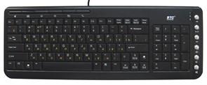 Клавиатура BTC 6309U-BL, черная, компактная, тонкая, 12 доп.кл., USB