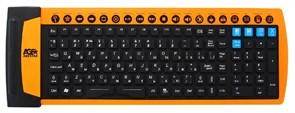 Клавиатура Agestar HSK825M-Black, гибкая, черная, 18 доп.кл., USB+PS/2
