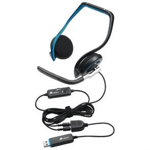 Гарнитура Corsair Vengeance 1100 (затылочная, открытая, 20Гц-20кГц, 32Ом, 94 дБ/мВт / -44 дБ мик., 2 * 3,5 мм + USB, кабель 1,8