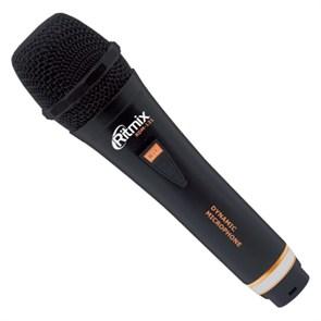 Микрофон динамический Ritmix RDM-131 чёрный, 600Ом, 80-15000Гц, -68±3 дБ/1кГц, кабель 3м jack 6.3 мм