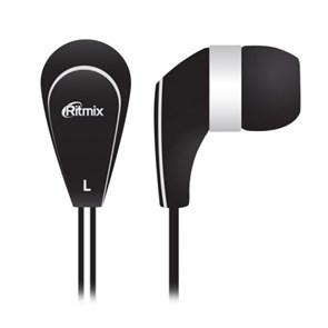 Наушники Ritmix RH-181 Black (вкладыши, чёрные, 20Гц-22кГц, 16Ом, 92 дБ/мВт, 3.5мм, кабель 1,2 м)