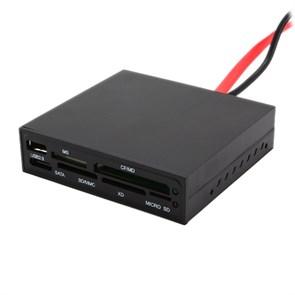 "3.5"" Internal USB Card Reader+1USB+SATA, Gembird FDI2-ALLIN1S-B BLACK"