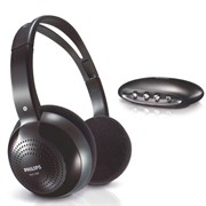 Наушники Philips SHC1300/00 (оголовье, закрытые, чёрные, 28Гц-20кГц, 32Ом, 108 дБ/мВт, 3,5 мм, беспроводные IR)