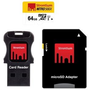 microSD Memory Card SDXC 64GB Class10 UHS-I Strontium 566X 85MB/s, + USB reader (SRN64GTFU1C)