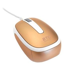 Мышь BTC M853PU-Gold, мини, оптика, 800 dpi, золотой, USB