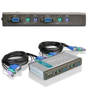 KVM-переключатель D-Link DKVM-4K PS/2/VGA на 4 компьютера (2 кабеля 1.8м в комплекте)