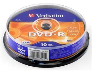 DVD-R 4.7GB Verbatim 16x (упаковка 10шт. на шпинделе) (43523)