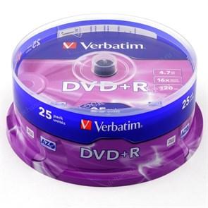 DVD+R 4.7GB Verbatim 16x (упаковка 25шт. на шпинделе) (43500)