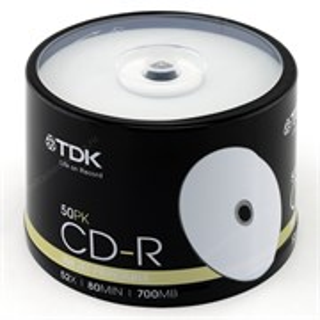 CD-R 700Mb 80min TDK 52x, printable (упаковка 50шт. на шпинделе)