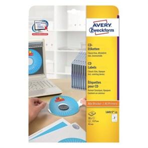 Наклейки для CD/DVD Avery Zweckform, матовые, с центр. устройством (шайба), 50шт