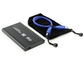 """Внешний корпус для 2.5"""" HDD SATA, USB 3.0, металл., черный, чехол (31149)"""